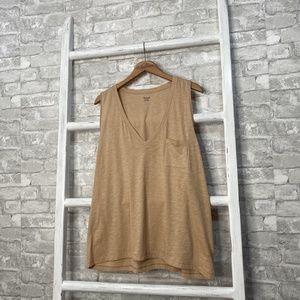 Madewell Whisper Cotton V-Neck Tank Tan Size XXL